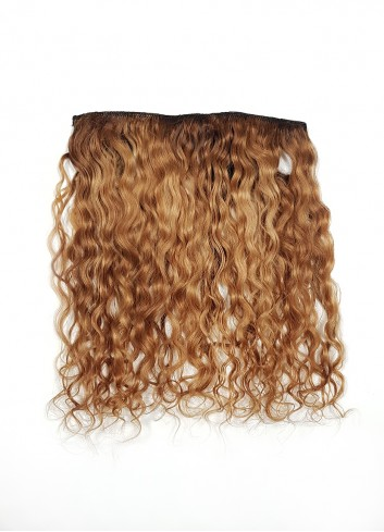 Natural curly Clip in Golden brown